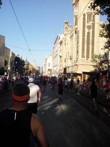 Running down Flinders Street! A good first km!