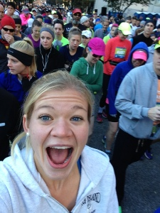 Melanie didn't run a race til she has a selfie in the starting corral...